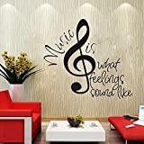 Wowall Big Music Note Music is What Feelings Sound Like Quotes Wall Decals
