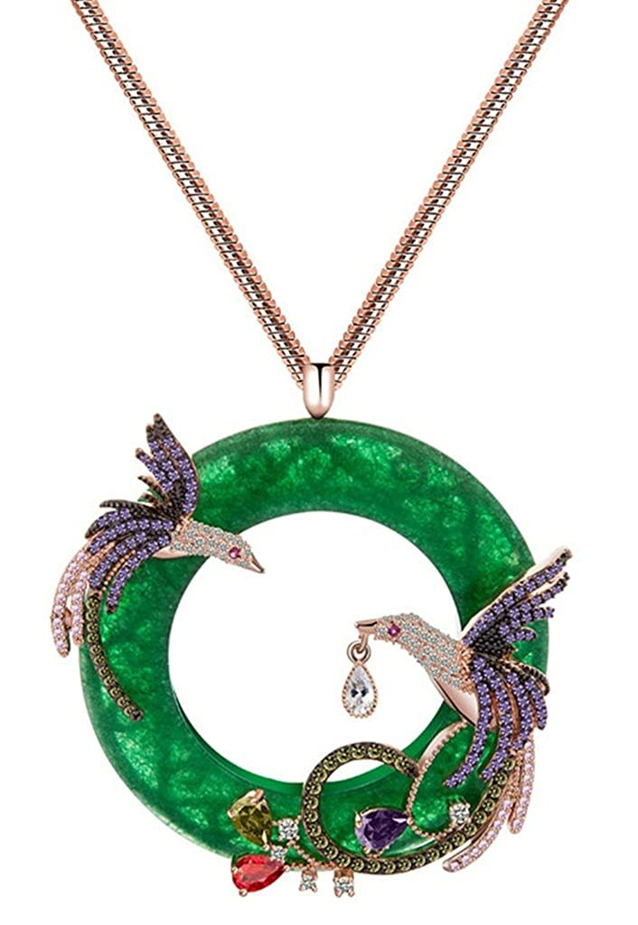 KnSam Women Rose Gold Plate Pendant Necklace Jade Ring Phoenix Snake Green Crystal KnSam42NL964