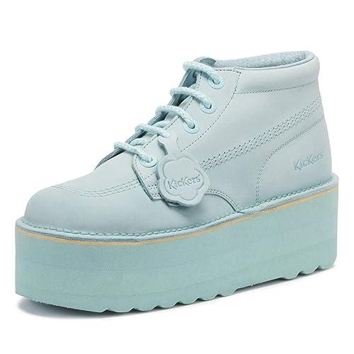 Kickers Kick Hi Womens Pastel Blue Nubuck Platform Boots