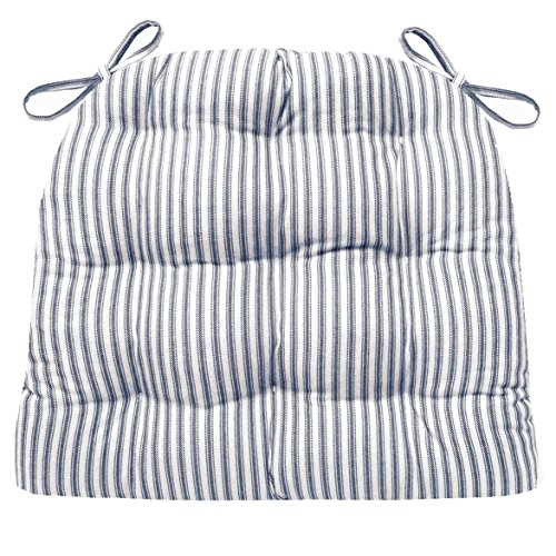 Barnett Products Ticking Stripe Dark Blue Dining Chair Pad with Ties – Size Standard – Latex Foam Filled Cushion – Made in USA (Navy)