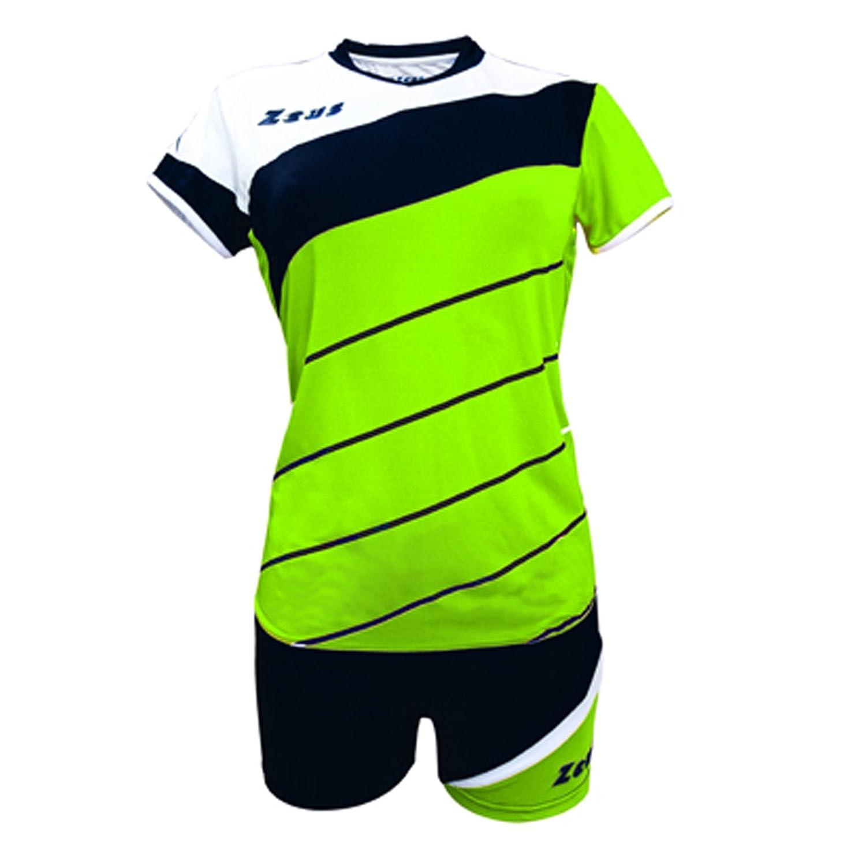 Zeus Kit Lybra Donna complementando Volley-Ball pour Les Femmes Sport pegashop Colour Vert Fluo-Negro-Blanco
