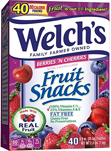WELCH'S Berries 'n Cherries Fruit Snacks, 0.9 Ounce, 40 Count