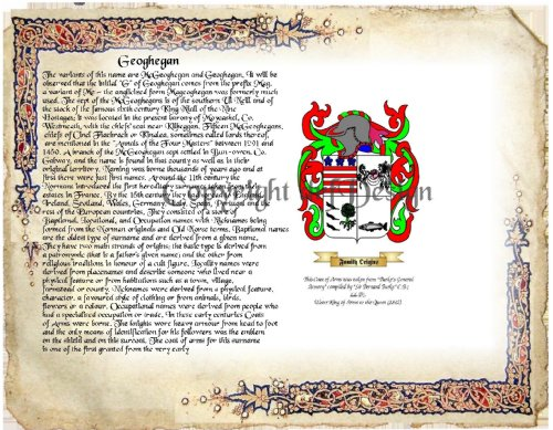 Geoghegan Coat (Geoghegan Coat of Arms/ Family Crest on Fine Paper and Family History Buy 1 get 1 FREE)