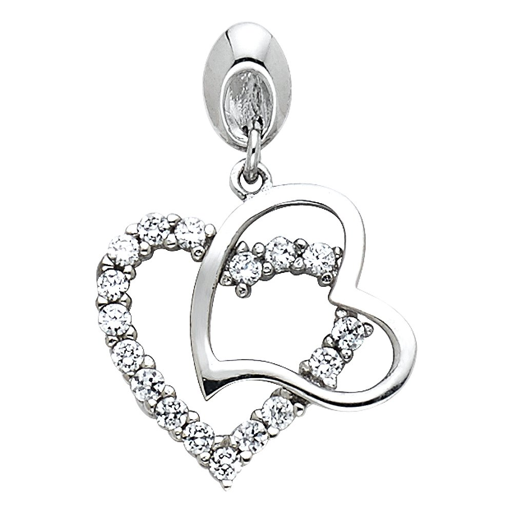 Million Charms 14k White Gold with White CZ Accented Small//Mini Heart Charm Pendant