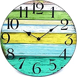 HIPPIH 12 Inch Non Ticking Wall Clock Battery Operated, Silent Decorative Wall Clock, Wooden Kitchen Wall Clocks for Office/Kitchen/Bedroom/Living Room/Classroom-Vintage Rustic Country Tuscan Style