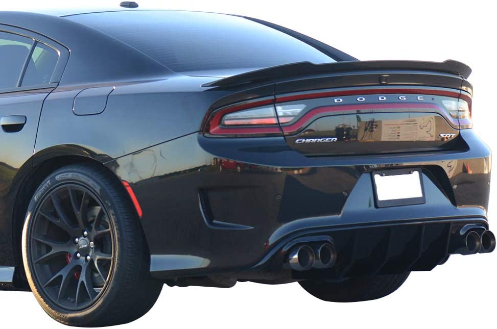 IKON MOTORSPORTS Bumper Lip Spoiler Compatible With 2015-2020 Dodge Charger SRT Quad Exhaust Rear Diffuser with Yellow Reflective Tape