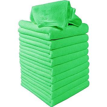 Gilroy 10pcs Verde Suave Absorbente lavar toallas de limpieza polvo paños de microfibra para coche ventana cuadro: Amazon.es: Hogar