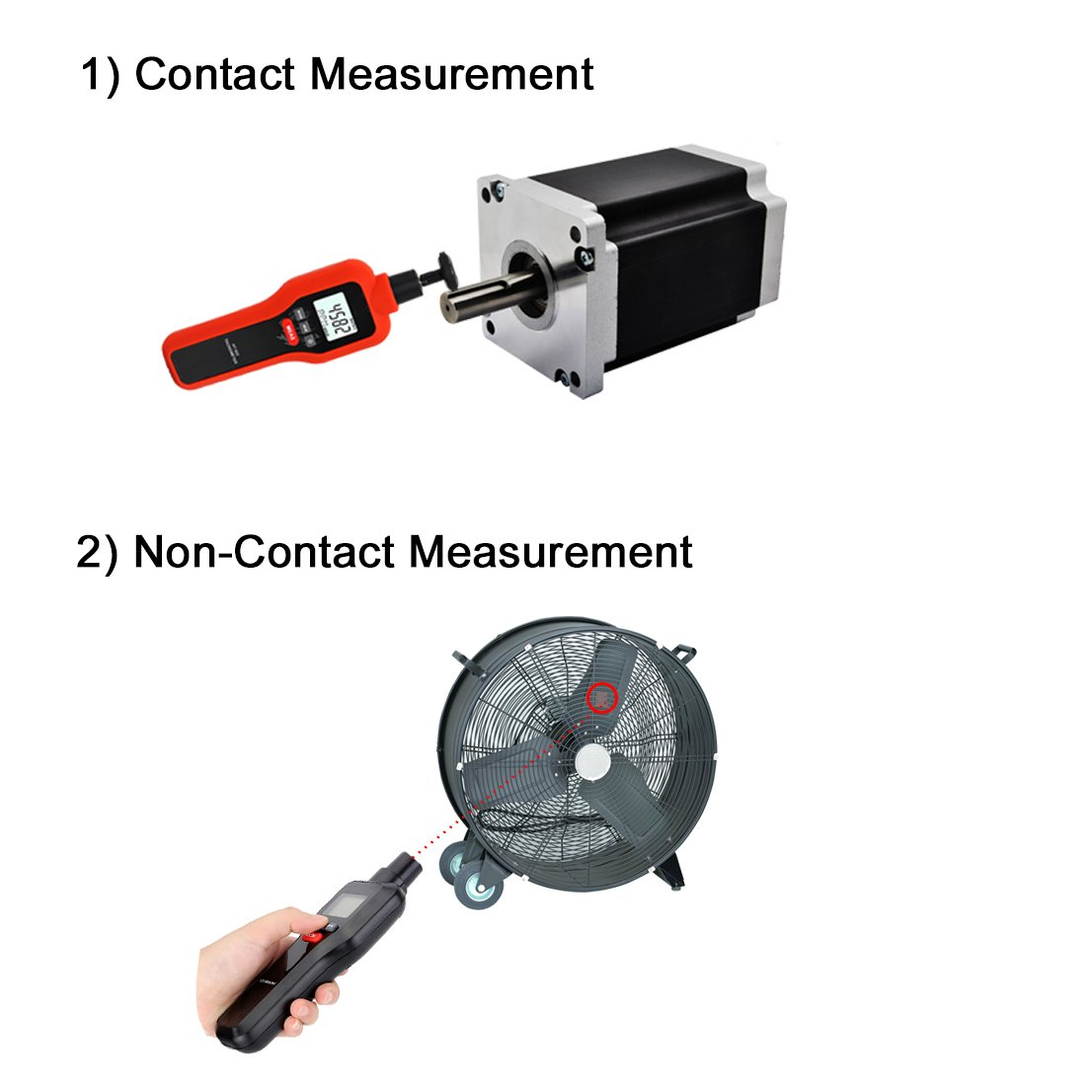 Mengshen Digital Tachometer, 2 in 1 Non-Contact & Contact Tach Rotation Speed Measurement RPM Meter, M522