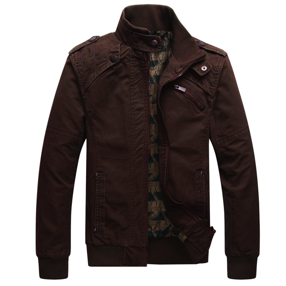 Dwar Men's Casual Long Sleeve Full Zip Fashion Jackets with Shoulder Straps (Large, Brown) by Dwar