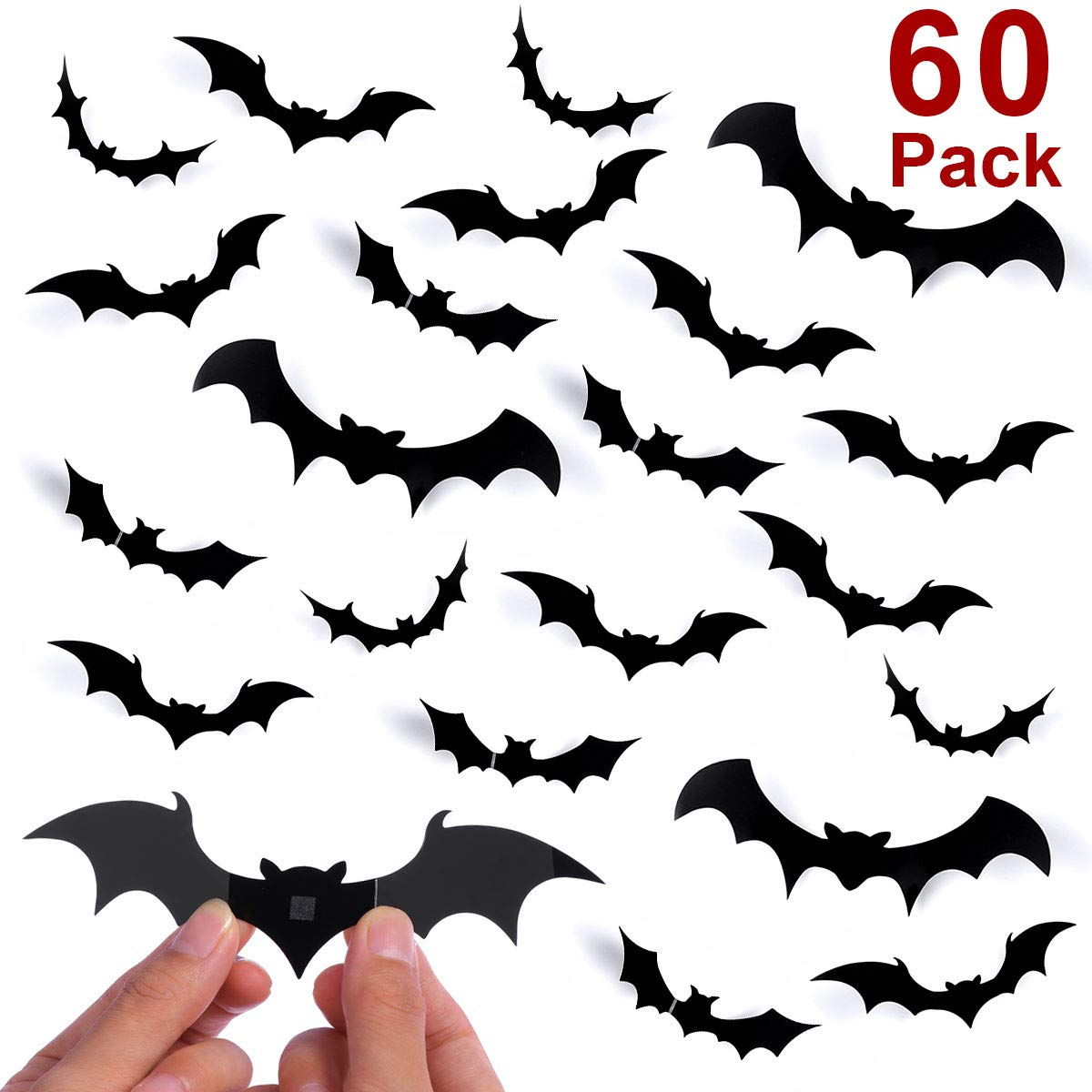 Unomor Halloween Decorations Bat Wall Decorations 60PCS 3D Bat Wall Decal Halloween Home Window Decorations--4 Size