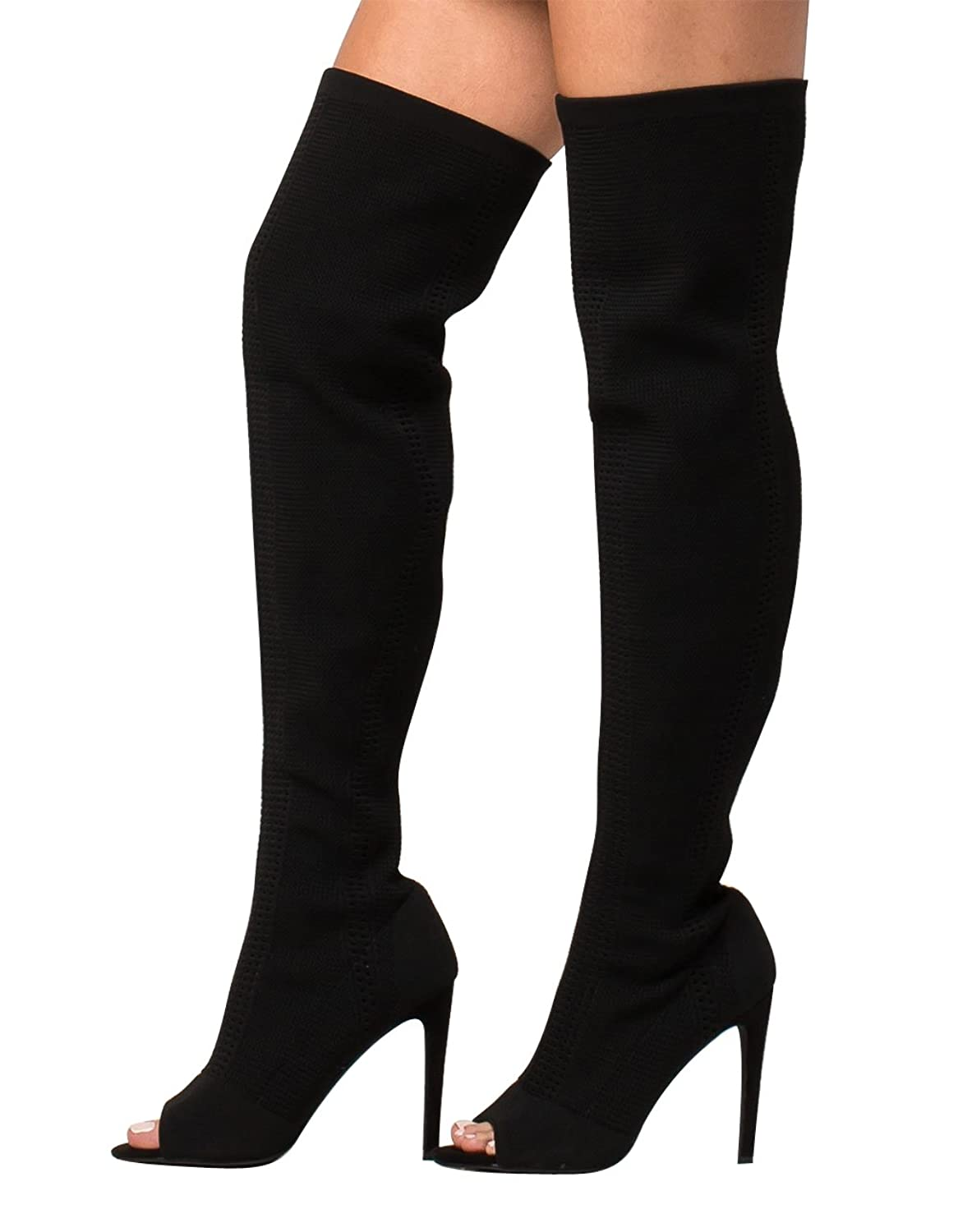 Cape Robbin Elnora-27 Open Peep Toe Knit Stretch Elastic Pull On Thigh High Boot Black