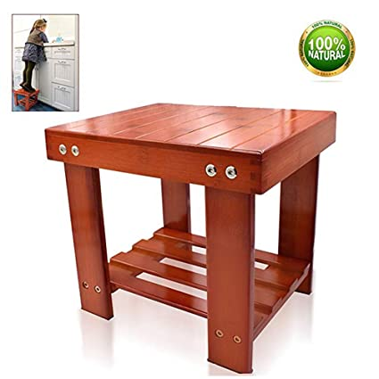 HYNEWHOME Bamboo Step Stool Kids Children Adults Durable Anti Slip  Lightweight Wooden Stool Storage Shelf