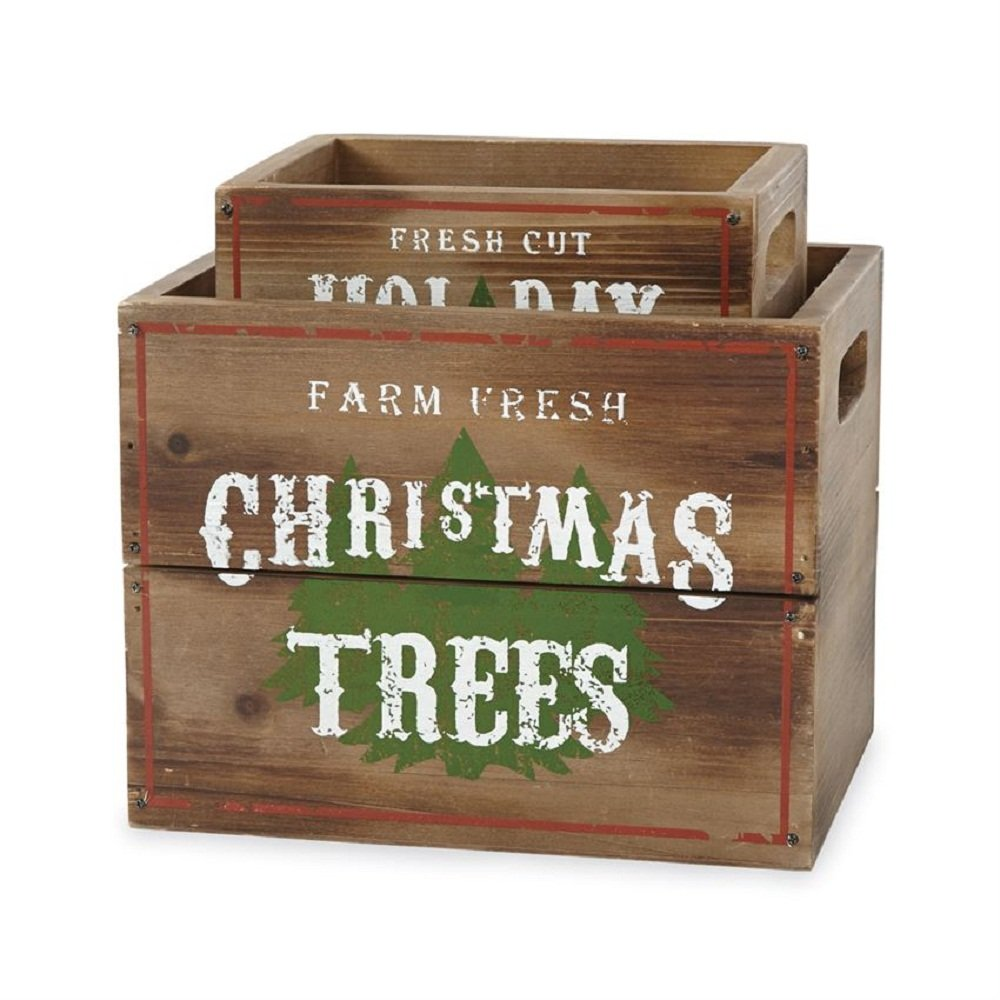Mud Pie Wood Tree Crate Set of 2 4263057