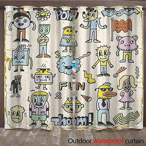 (Outdoor Curtains for Patio Sheer Funny Wacky Doodle Characters Set Vintage Texture Vector Illustration W72 x L108)