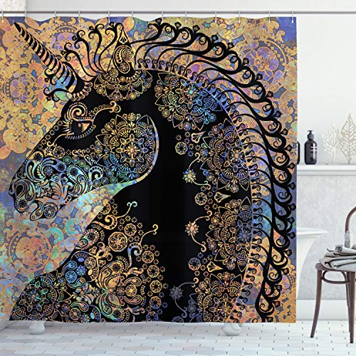Ambesonne Unicorn Shower Curtain, Fairytale Unicorn Profile with Circular Mandala Flower Boho -