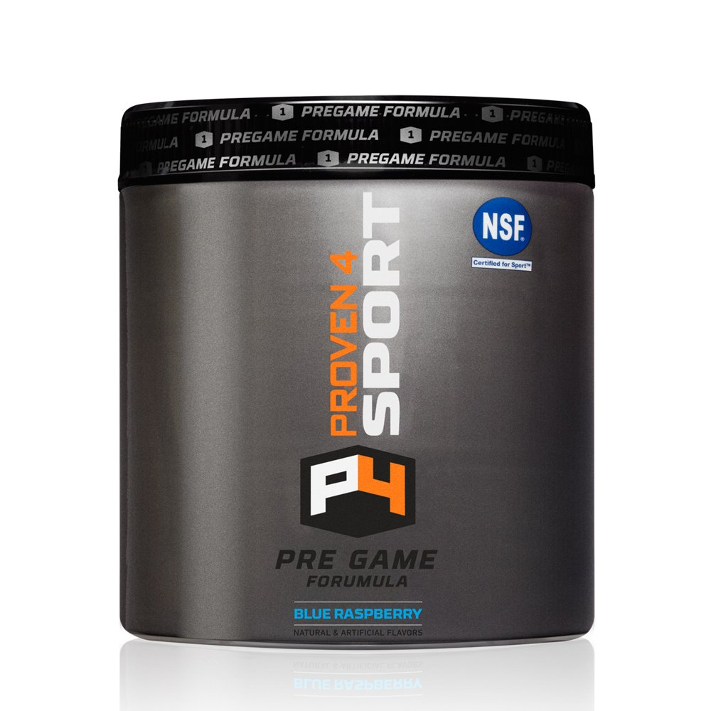 Proven4 Pre-Game Formula/Pre Workout Supplement w/Creatine, Beta-Alanine, and Energy - Flavor: Blue Raspberry (NSF Certified for Sport)