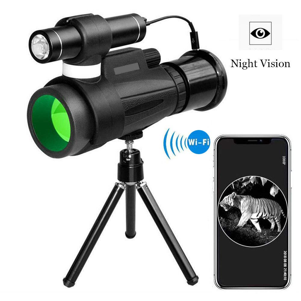 TRISJEM Monocular Telescope, 12x50 High Powered Monocular with WiFi and APP Function, Infrared Night Vision Monocular for Outdoor Trip, Camping Night Watching by TRISJEM