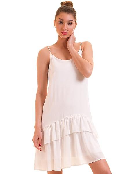 Vila Vestido Volantes ibicenco Blanco Clothes (S - Blanco)