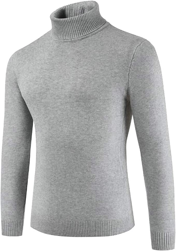 WSPLYSPJY Mens Casual Slim Fit Turtleneck Pullover Sweaters Knit Long Sleeve Jumper