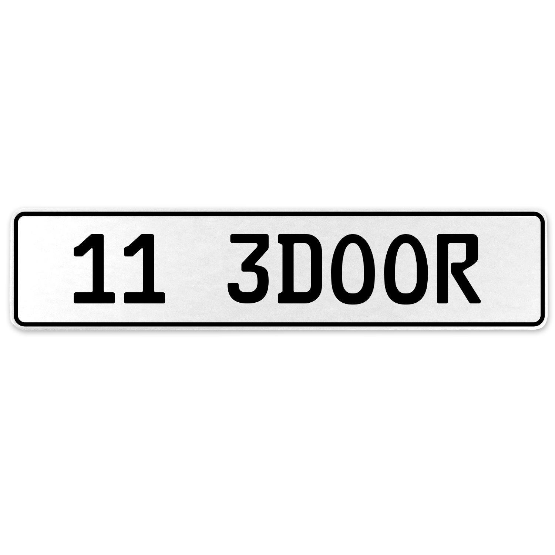 Vintage Parts 557974 11 3DOOR White Stamped Aluminum European License Plate