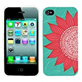 iPhone 4s Case Cute,iPhone 4 Case cool, ChiChiC full Protective Stylish Case slim durable Soft TPU Cases Cover for iPhone 4 4g 4s,red sunflower on green mint abstract background