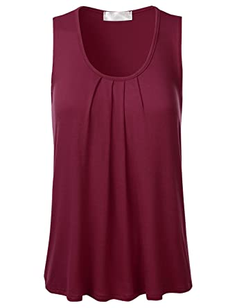 c5c4e61533235f FLORIA Womens Round Neck Pleated Front Sleeveless Stretchy Blouse Tank Top  Burgundy S