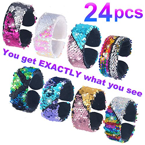 Pawliss 24 Pack Little Mermaid Magic Charm Reversible Sequin Slap Bracelets, Birthday Party Favors Supplies Gifts Girls Kids, Pink Blue Purple