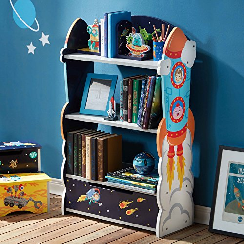 Fantasy Fields - Outer Space Thematic Wooden Kids Bookcase with Hand Crafted Designs & Toy Storage ()