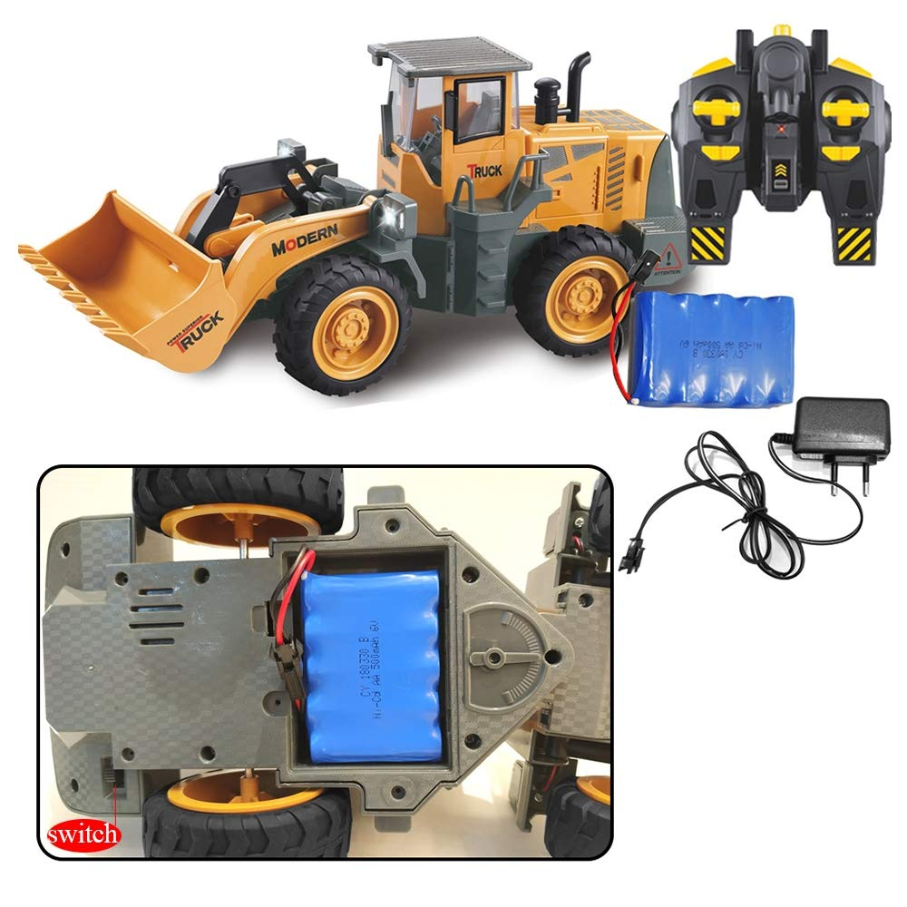 HUIGE 6 Channel Remote Control Die Cast 1 8 Scale Front Loader Construction Truck Bulldozer with Lights