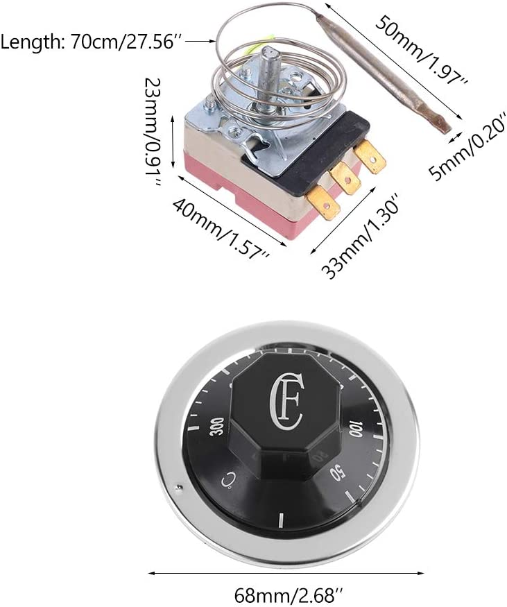 YEZININHAO Thermostat AC 250V 16A 50-300/°C Temperature Controller NO NC for Electric Oven