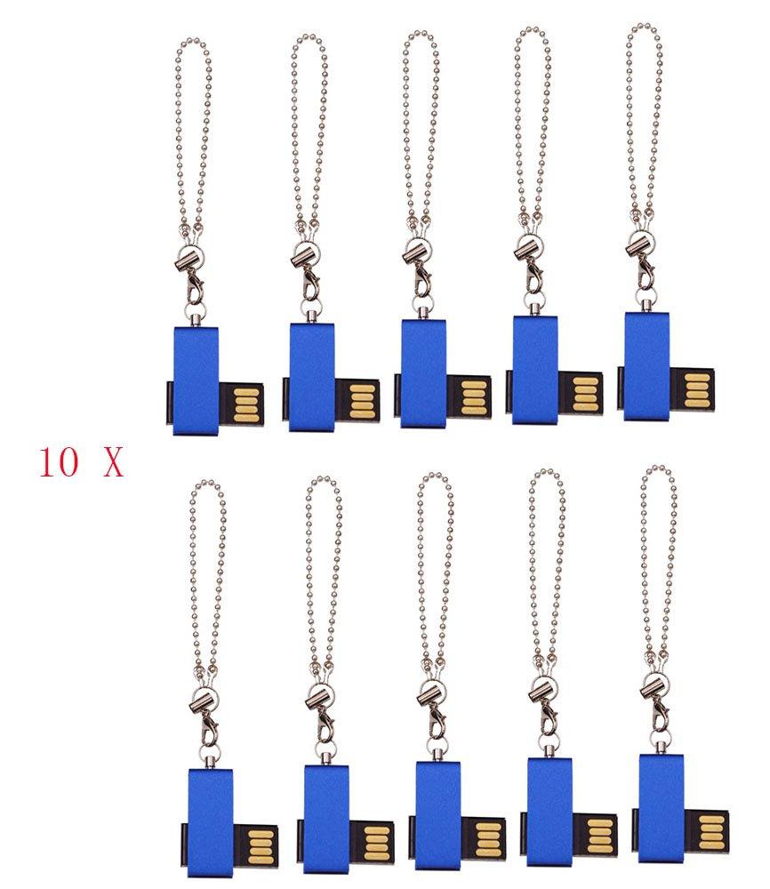 FEBNISCTE 100pcs Bulk Pack Mini Metal Blue Swivel 256MB Flash Memory Stick by FEBNISCTE