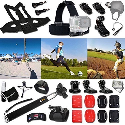Xtech BASEBALL ACCESSORIES Kit for GoPro Hero 4 3+ 3 2 1 Hero4 Hero3 Hero2, Hero 4 Silver, Hero 4 Black, Hero 3+ Hero3+ Hero 3 Silver, Hero 3 Black and for basketball, Soccer, Football, Golf, Golfing, Tennis, Baseball, Volleyball, Beach-ball, Hockey, Ice  by Xtech