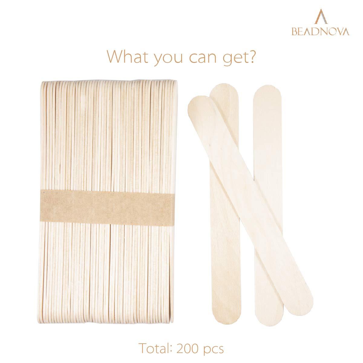 4.5 Inch, 200 Piece, Natural Color BEADNOVA Tongue Depressors Wood Sticks Craft Sticks Wooden Popsicle Sticks for Crafts