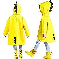 Formesy Unisex Bambino Impermeabile di Pioggia Incappucciati Cartoon Dinosauro Poncho con Cappuccio Giacca Antipioggia