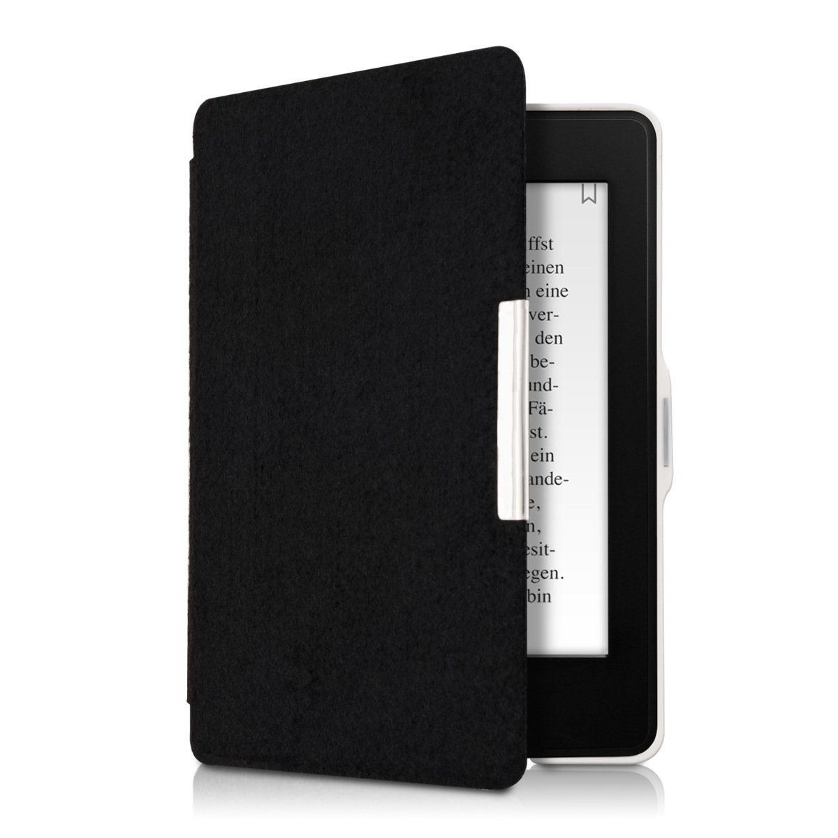 kwmobile Case for Amazon Kindle Paperwhite - Book Style Felt Fabric Protective e-Reader Cover Folio Case - black