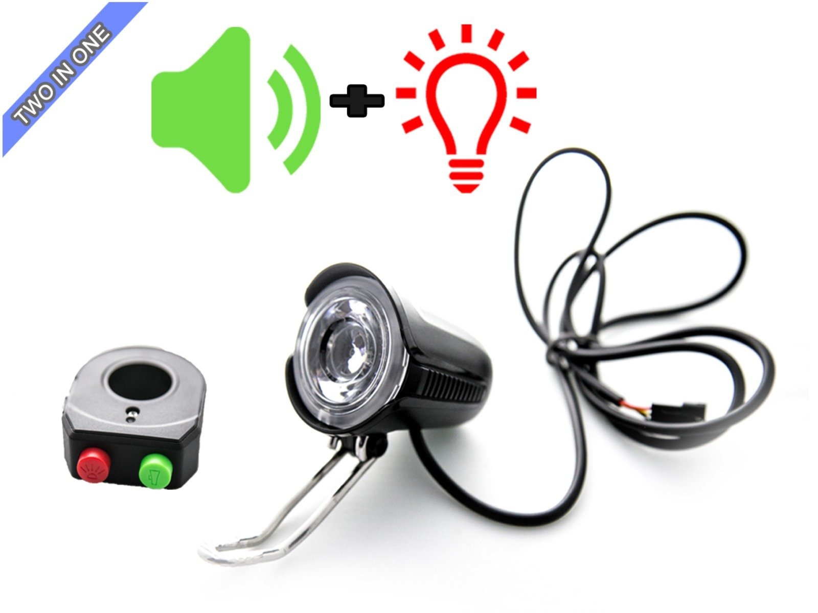 Electric Bicycle 2 in 1 Head Light & Electric Horn For Electric Bike EBikes And Electric Scooter V36