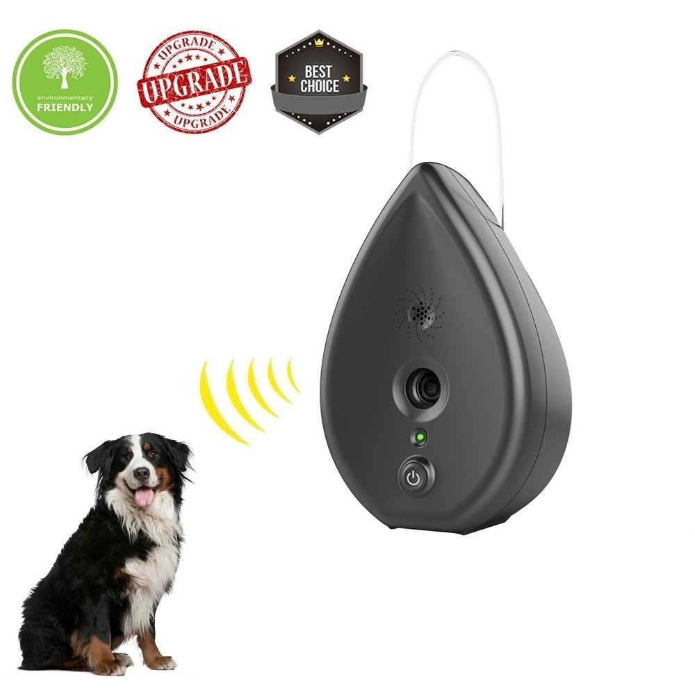 YC° Newest Bark Control Ultrasonic Anti Barking Device Bark Deterrent Silencer Barking Stop Water Droplet Shape Indoor Use (Black) by YC°