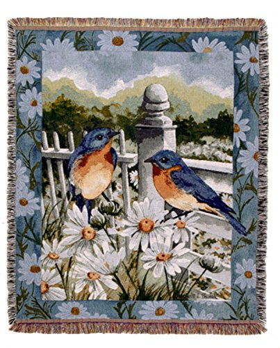 "Simply Home Bluebird Summer Fringed Afghan Throw Blanket 60"" x 50"" from Simply Home"