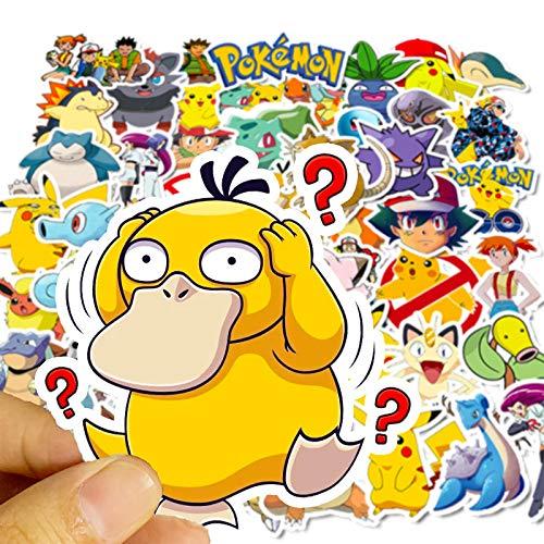 Cute Pokémon Stickers for Water Bottles[50pcs] Pikachu Anime Monsters Cartoon Sticker for Laptop Bike Car Tumbler Guitar Motorcycle Bumper Luggage Skateboard Graffiti, Best Gift for Kids,Children,Teen