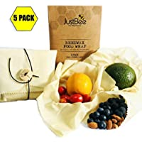 Beeswax Reusable Wrap - 5 Pack Made with 100% Organic Cotton - Plastic Free Food Storage - Eco-Friendly, Sustainable & Biodegradable