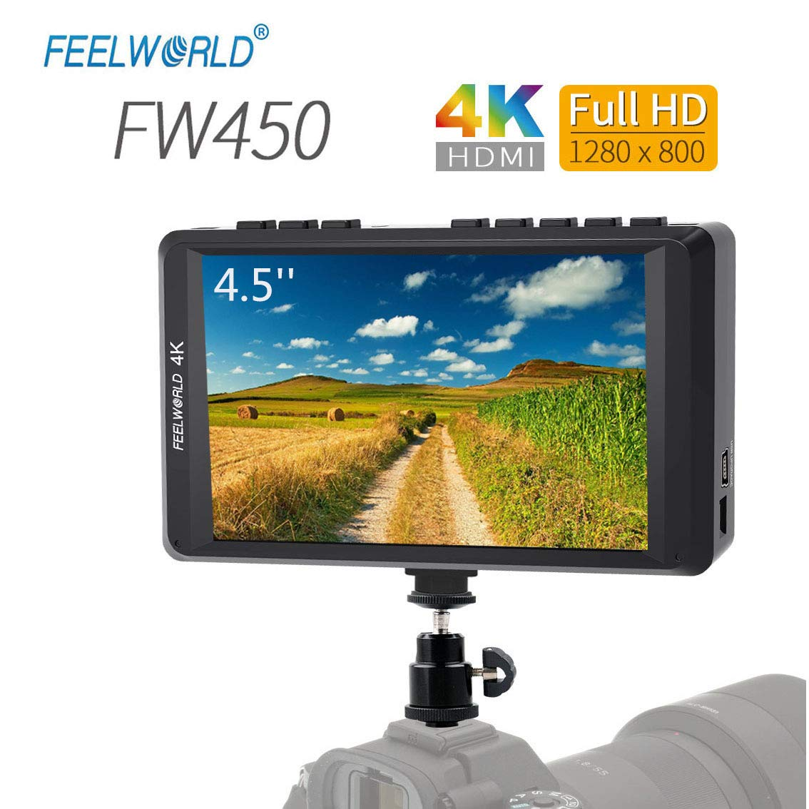 FEELWORLD FW450 4.5 Inch DSLR On Camera Field Monitor 4K HDMI Input Output Small HD Focus 1280x800 Ultra Lightweight Video Assist by FEELWORLD