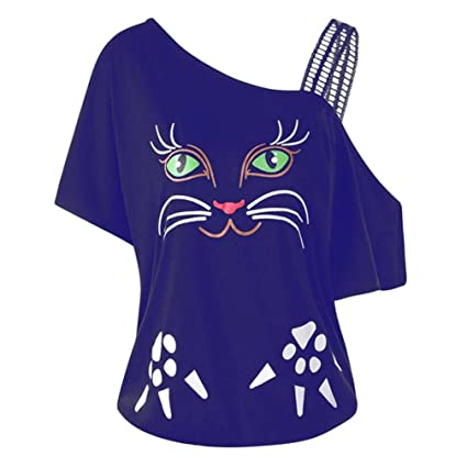 LILICAT Camiseta de Gran tamaño para Mujer Cat Print, L ~ 5XL, 2018 Mujeres
