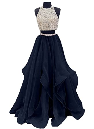 Ladsen 2 Piece Beaded Long Prom Dress Tulle Evening Gown For Party L186 Navy Blue US2