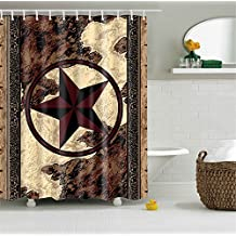 Bathroom Shower Curtain Decor Art Prints Waterproof Polyester (Western Texas Star)