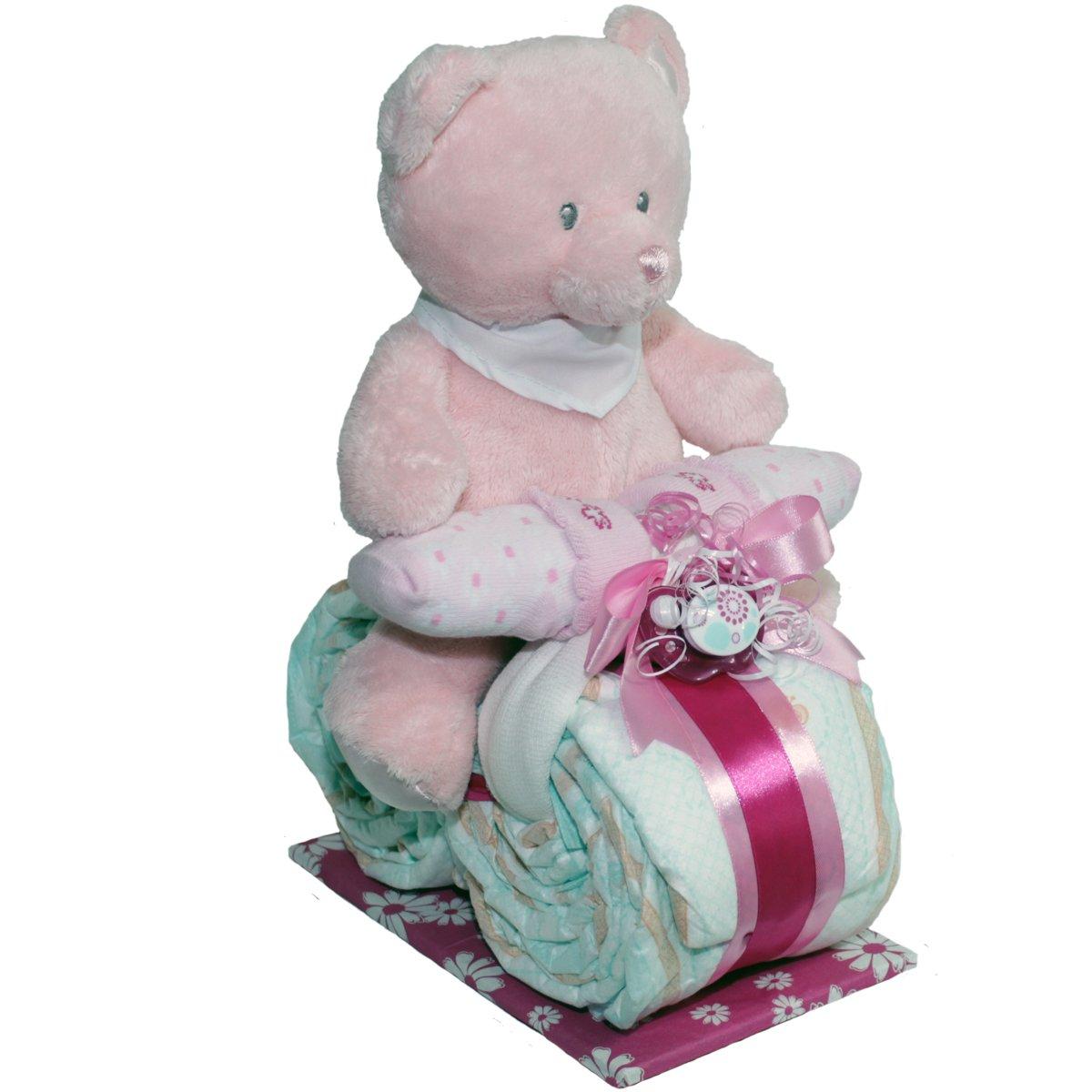 ✿ Windelmotorrad 'Belinda' ✿ rosa/pink fü r Mä dchen mit Plü schbä r / Teddybä r fü r Kinder unter 3Jahre geeignet Windeltorte Windeltorten.Eu