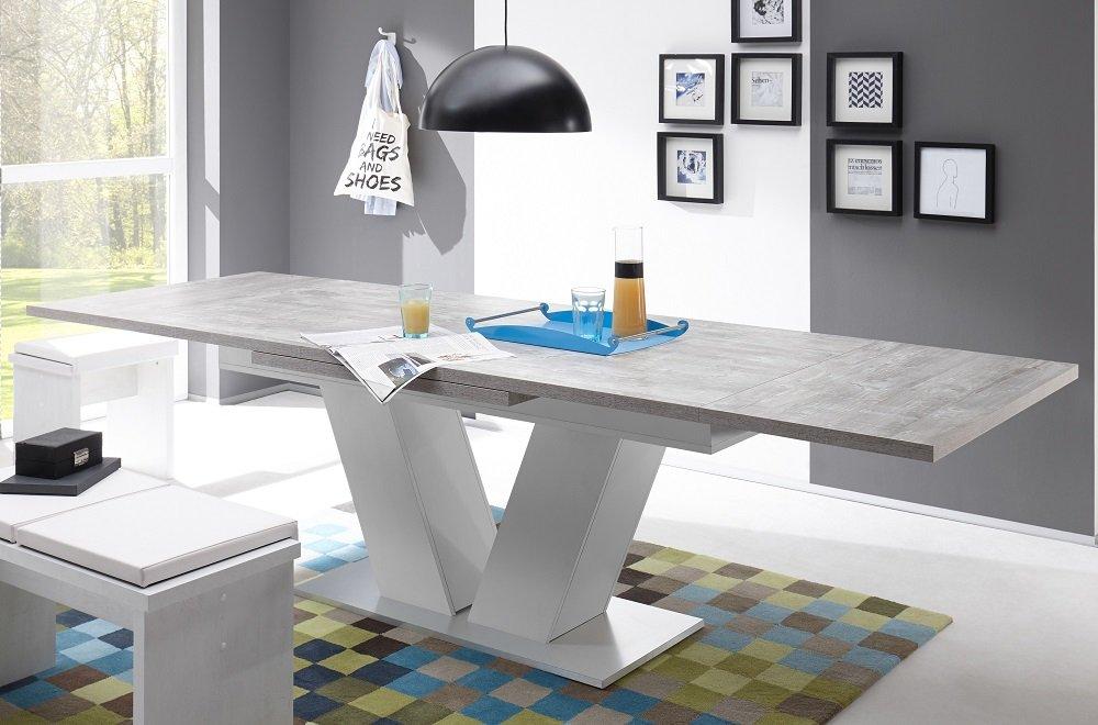 Esstisch ausziehbar Komfort-Tisch 180-280 Beton Weiss ...