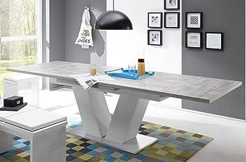 Esstisch ausziehbar  Esstisch ausziehbar Komfort-Tisch 180-280 Beton Weiss ...