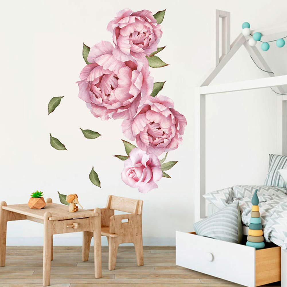 Watercolor Peony Flowers Wall Sticker, Rose Floral Wall Decals, Vintage Flower Wall Decor Removable Wall Mural for Nursery Living Room Nursery School Kids Baby Bedroom Decoration (Pink 2)