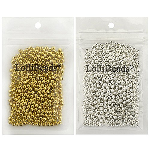 LolliBeads (R) Gold and Silver Plated Smooth Round Metal Beads Mixed Color 4 mm 600/600 Total 1200 (Gold Spacers Bead)