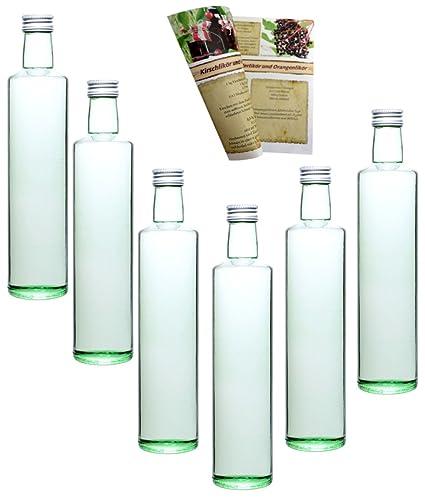 guoveo - 12 botellas de 500 ml con tapón de rosca plateado, botellas de vidrio